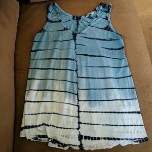 Tops - Blue and white tie-dye tank top